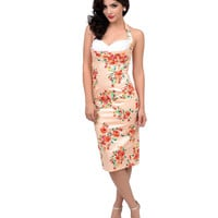 Stop Staring! 1940s Style Blush Floral Covergirl Halter Fitted Wiggle Dress