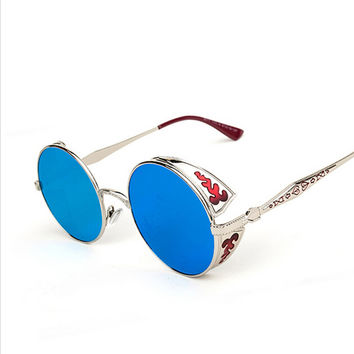 High Quality Steampunk Round Sunglasses