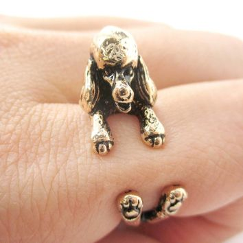 3D French Poodle Dog Shaped Animal Wrap Ring in Shiny Gold | Sizes 4 to 8.5