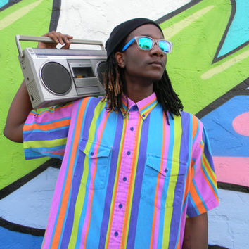 The Fresh Prince Shirt - Vintage 80s Rainbow Striped Short Sleeved Button Up by Rodeo Blue by Roper, XL 2X XXL