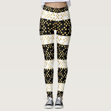 Chic Black and White Stripes Gold Dot Patterned Leggings