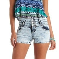 Acid Wash High-Waisted Denim Shorts - Acid Wash Denim