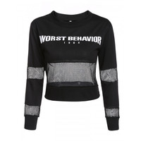 Women O-Neck Long Sleeve Letter Print Pullover Fishnet Patchwork Cropped Hoodie