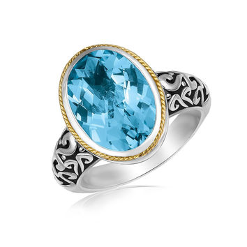 18K Yellow Gold and Sterling Silver Oval Milgrained Blue Topaz Ring