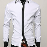 White Lapel Color Long Sleeve Dress Shirt