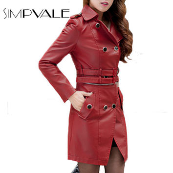 Faux Leather Jacket Women Fashion Turn Down Neck Double Breasted Solid Color Black Red Brown Long Sleeve PU Sexy Coat