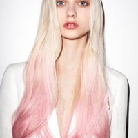 22 Inches Straight Blonde to Pink 100% Human Hair Ombre Wigs : fairywigs.com