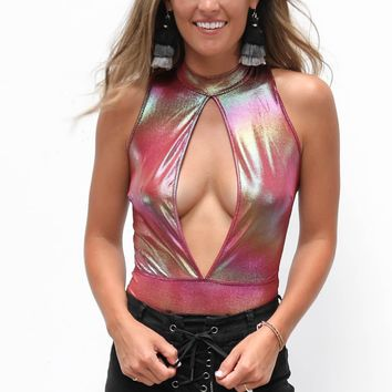 Another Night Pink Metallic Bodysuit