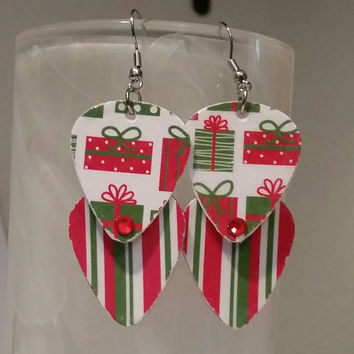 Guitar Pick Earrings - Betsy's Jewelry- Christmas - Holiday - Present -  Upcycled Jewelry