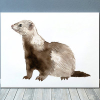 Wildlife print Ferret poster Animal print Nursery art ACW545