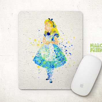 Alice in the Wonderland Mouse Pad, Disney Alice Watercolor Art, Mousepad, Home Art, Gifts Idea, Art Print, Desk Decor, Princess Accessories