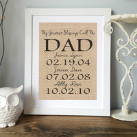 Personalized Gift for Dad | Father's Day Gift from Kids | Gift for DAD | Family Date Sign | Dad Gift | Birthday Gift for Dad