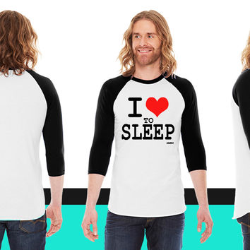 i love to sleep by wam American Apparel Unisex 3/4 Sleeve T-Shirt