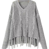 Gray V-neck Tassel Hem Hi-lo Knit Sweater - Choies.com