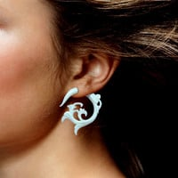 Fake Gauges - White Elvira Curls - White Bone Earrings