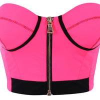 Clothing : 'Darcey' Neon Pink Scuba Crop Top