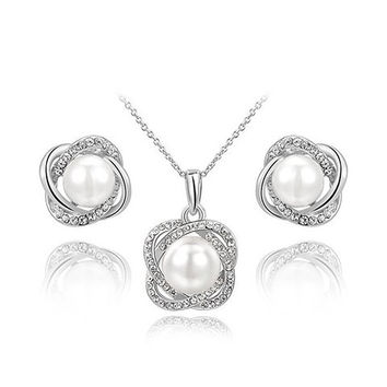 Faux Pearl Crossed Rhinestone Necklace and Earrings