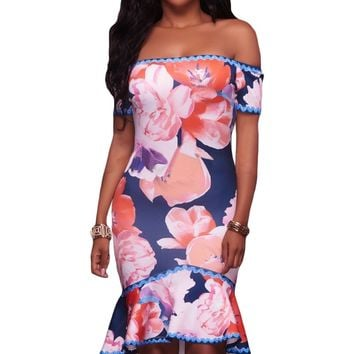 Chicloth Samba Navy Blue Floral Multi-color Print High-low Dress