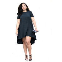 Black Short Sleeve Loose Dress