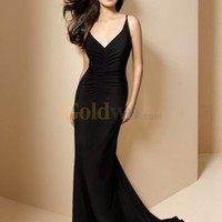 [US$156.99] Mermaid V-Neck Court Train Chiffon Evening Dress