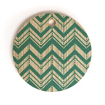 Heather Dutton Weathered Chevron Cutting Board Round