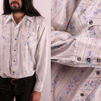 Vintage 70s - H BAR C - Snap Button Up - White Ivory Floral Striped Country Western Shirt
