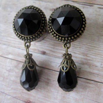 "Pair of Antique Brass and Black Rhinestone Dangle Plugs -  Handmade Gauges - 1/2"", 9/16"", 5/8"" - Feminine - Formal"