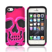 Apple Iphone 5 Hard Plastic Snap On Shell Case Cover Over Silicone - Hot Pink Skull On Black