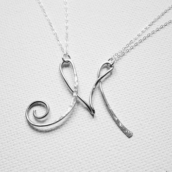 Letter Necklace Personalized Necklace Large Letter M Necklace Sterling Silver Initial Necklace Initial M Necklace