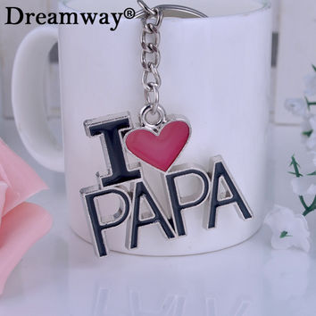 I LOVE PAPA letter key chain heart keychains best trinket Father's Day gift man key ring car keys pendant souvenir jewelry