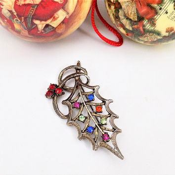 Beatrix Christmas Holly Brooch, Multi Color Rhinestones, Vintage Holiday Brooch