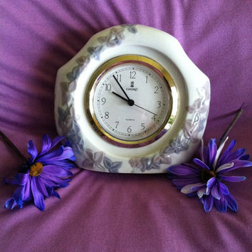 Lladro Valencia Porcelain Clock Vintage Lladro Floral Quartz Clock with Purple Flowering Vine Retired Lladro Quartz Mantel Clock  Home Decor