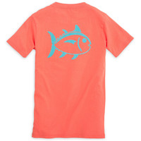 Kids Outline Skipjack Tee Shirt in Nautical Orange by Southern Tide