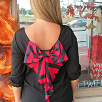 Chevron Bow Back Top - Red/ Black