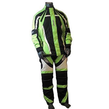Motorcycle jacket and paints Green On Black Chest size 50 Inchs pant size large