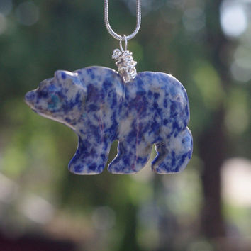 Blue Spot Jasper  Bear Necklace ~  Polar Bear Necklace ~ Jasper Stone Necklace ~ Bear Necklace ~ Winter Gift ~ Birthday Gift ~ Anniversary