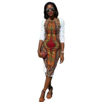 Traditional African Print Dress Large Size Women O-Neck Knee-Length
