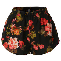LE3NO Womens Lightweight  Floral Print Loose Beach Short (CLEARANCE)