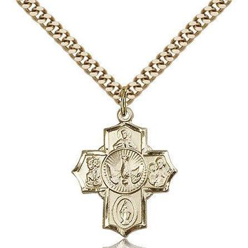 """Gold Filled Four Way Cross Necklace For Men On 24"""" Chain - 30 Day Money Back ... 617759239881"""