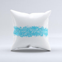 Blue Merry Christmas ink-Fuzed Decorative Throw Pillow