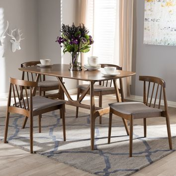Mid-Century Grey Fabric 5-Piece Dining Set by Baxton Studio