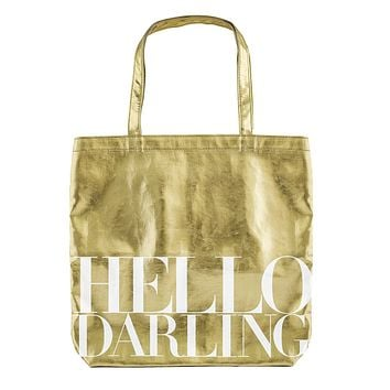 Hello Darling Tote Bag in Metallic Gold