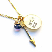 February Birthstone Faceted Amethyst Gold Valentine Cupid's Arrow Dewey Decimal Charm Necklace Purple Gemstone
