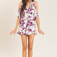 Eliza Cold Shoulder Purple Floral Romper