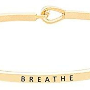 BREATHE Inspirational Quote Mantra Phrase Engraved Thin Bangle Hook Bracelet  Positive Message Jewelry Gifts for Women amp Teen Girls