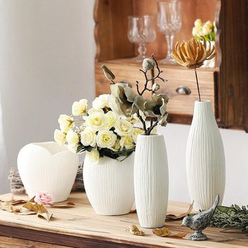 White Stripes Simple Vase Handmade Ceramic Flower Plant Bottle Pot Home Office Ornaments Decor