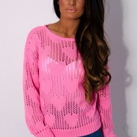 Polly Bright Pink Heart Knit Mesh Jumper   Pink Boutique