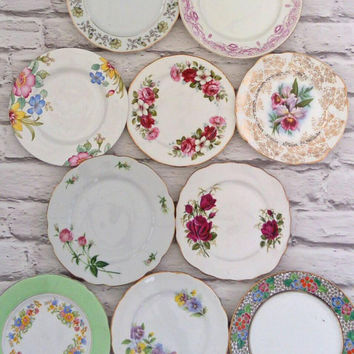 Side plates, tea plates, vintage China, tea set, vintage wedding, joblot plates, tea party, wedding China, mismatch China, cake plates,