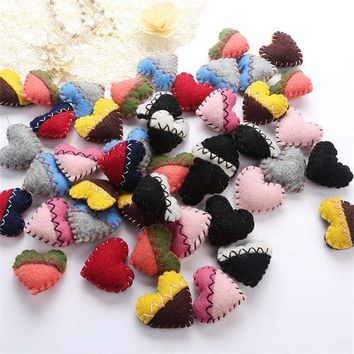 Handmade Needle Wool Felt Heart Home Party Christmas Hanging Decoration DIY Fashion Jewelry Hair Accessories Foam Filled 1PC