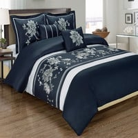 Myra Navy 5-Piece Duvet Cover Set Embroidered 100% Cotton